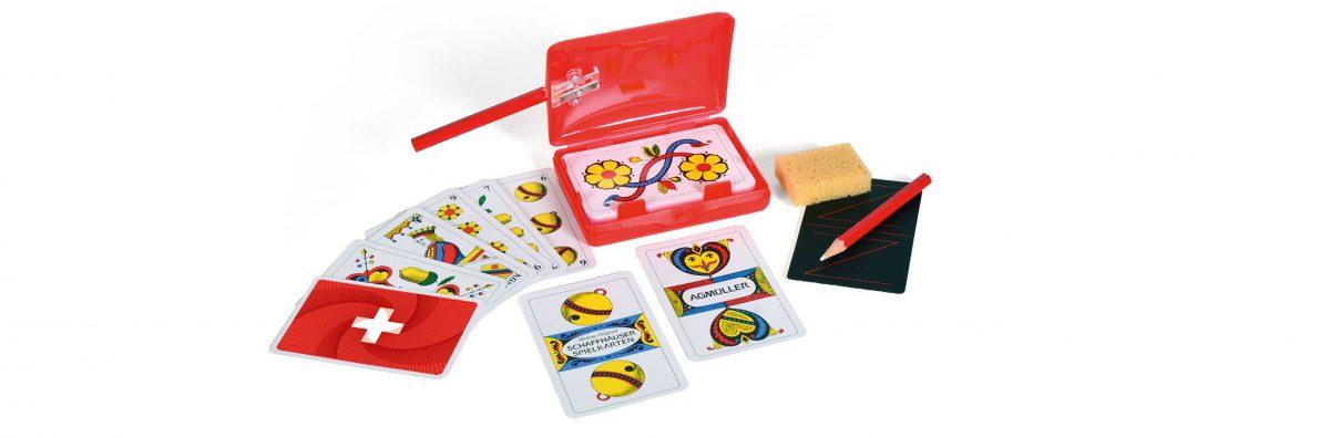 Schweizer Kreuz Jassbox mit Jasskarten