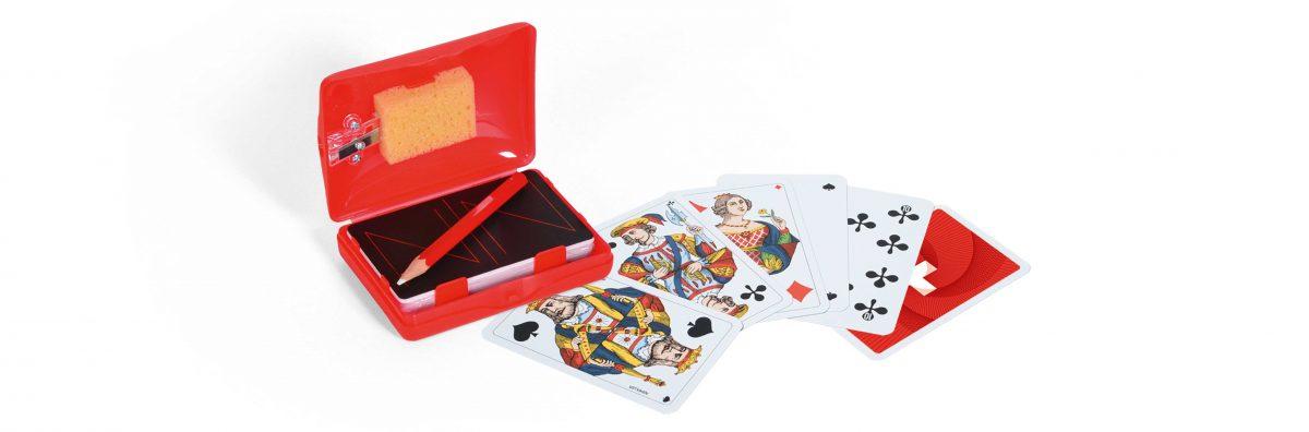 Schweizer Kreuz Jassbox mit Piquetkarten