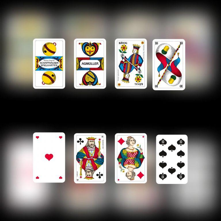Jasskarten mit Original Schaffhauser Spielkartenmotive