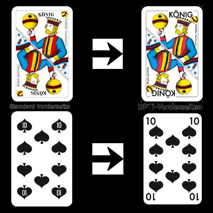 Jasskarten und Piquetkarten - StandardVorderseiten - OPTI-Vorderseiten