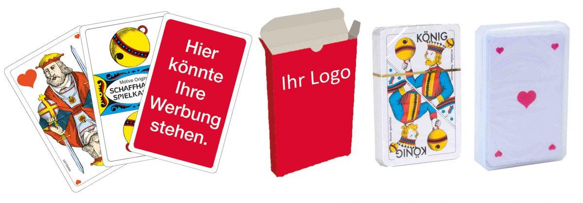 Werbe-Jasskarten, Kartonfalt-Etui, Cellophan, Plastik-Box