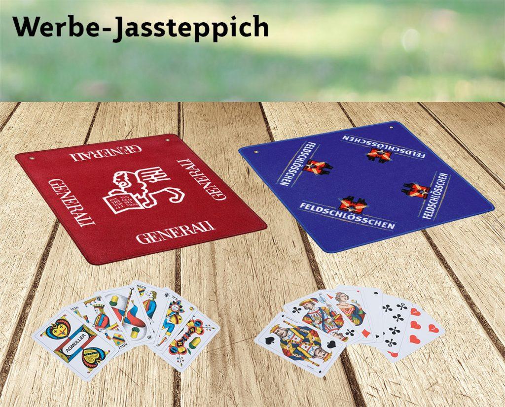Werbe-Jassteppich und Jasskarten